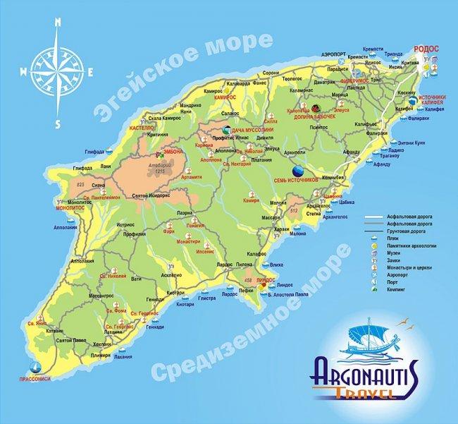 Карта Родоса с пляжами на русском языке