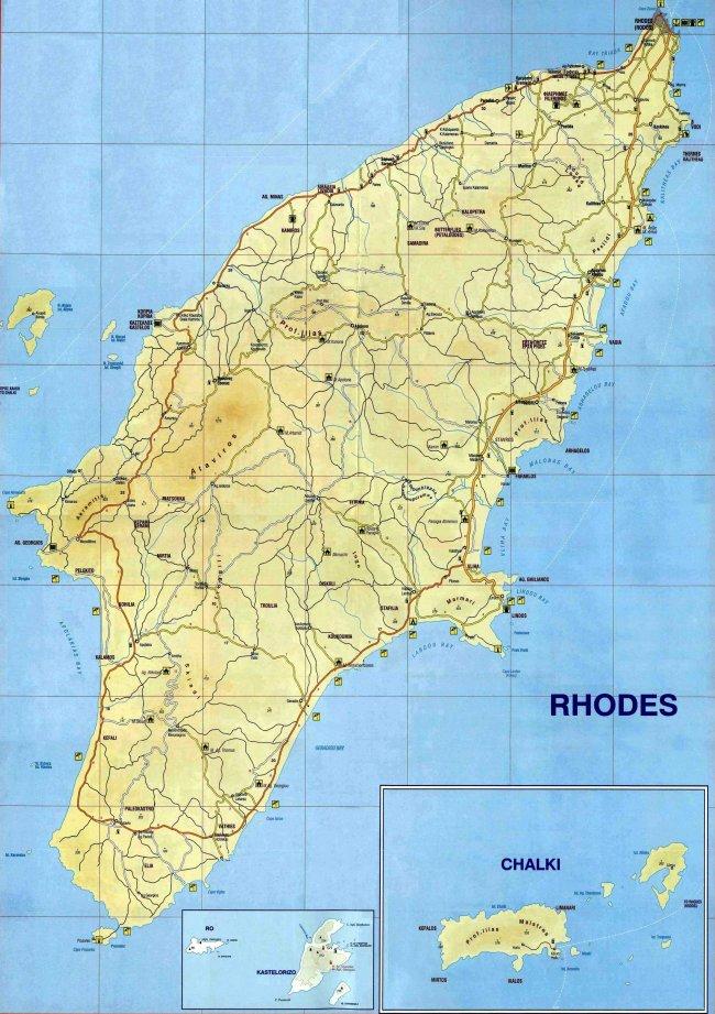 Подробная карта Родоса большого размера