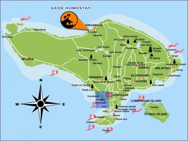 Карта Бали с пляжами