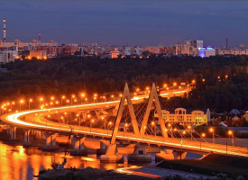 Мост Миллениум вечером в Казани