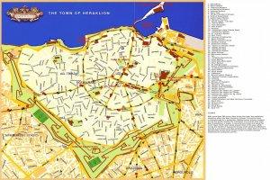 Карта Ираклиона с достопримечательностями