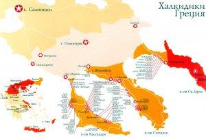 Карта Халкидиков с отелями